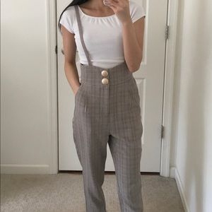 Gray plaid jumpsuit overall suspenders